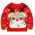 Рождество дети свитера, Очки лося шаблон мальчики и девочки серый вязание рубашка, Зимой дети пуловеры теплые трикотажные пальто ( 3-7yrs )