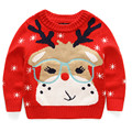 Christmas kids sweaters,glasses elk pattern boys & girls gray knitting shirt,winter children pullover warm knitted coat(3-7yrs)