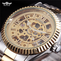 VENCEDOR Marca de luxo Relógios Homens de Ouro Caixa de Aço Escultura Esqueleto Índice Roman Dial Steel Band Mecânico Automático do Relógio de Pulso