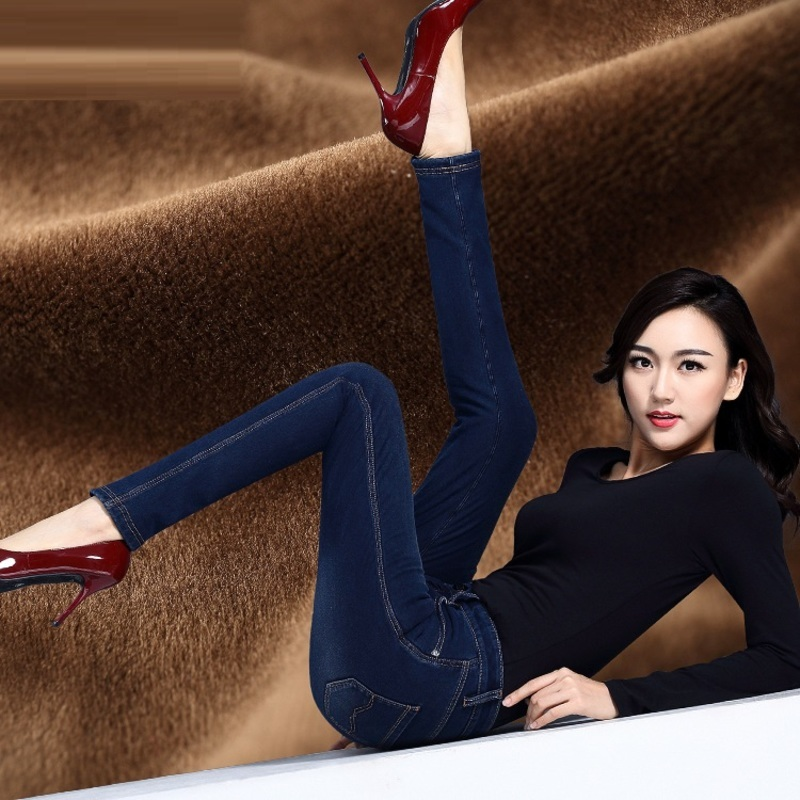 The new autumn and winter with Velvet elastic waist jeans girl pencil Pants size female trousers wholesale autumn and winter boys pants 2015 new winter fashion star patch with good taste three oxford cashmere waist jeans code