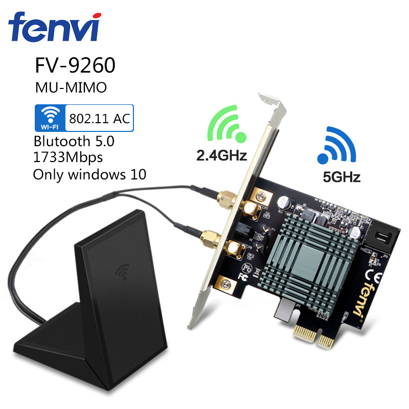 Desktop Computer Wireless Intel 9260NGW 9260ac Dual Band 2030Mbps MU-MIMO WiFi Bluetooth 5.0 PCI-E 1X Network Card Windows 10(China)