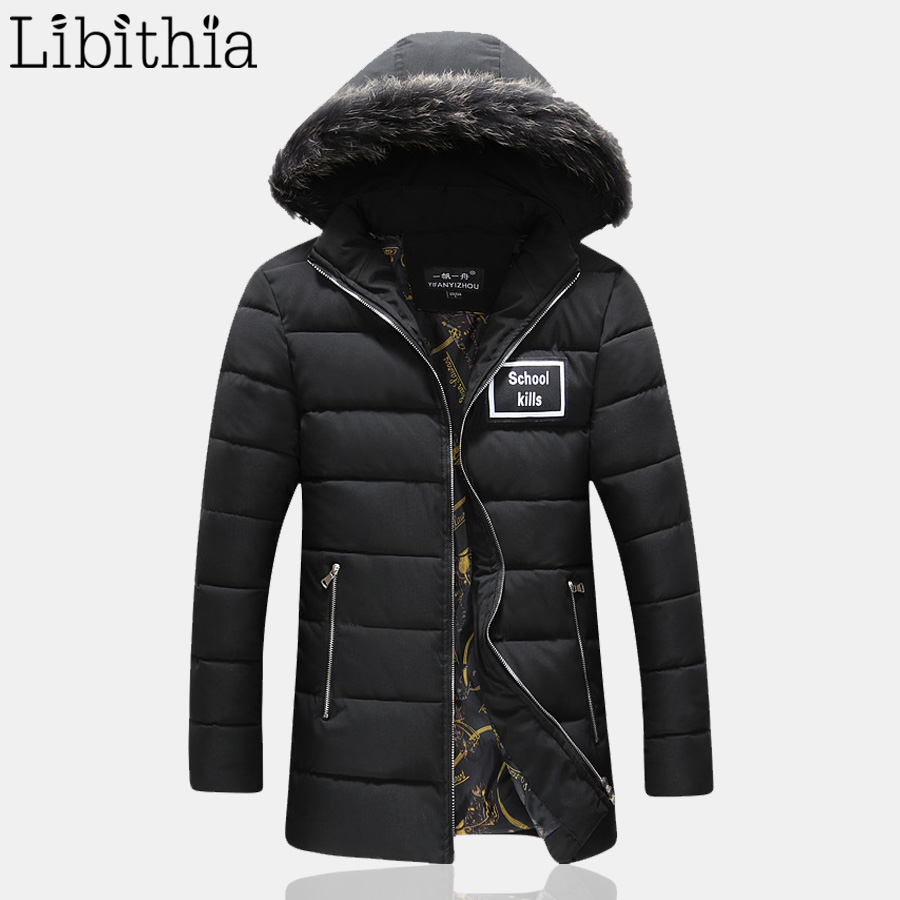 Men Zipper Cotton Long Down Parka Detachable Hat Thick Warm Casual Coats With Hooded Windproof Winter Plus Size M-5XL Black K144