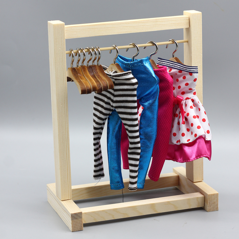 Toys & Hobbies New 1pcs Wooden Shelf And Hanger For Bjd Blyth Doll Furniture Fashion Dress Accessories