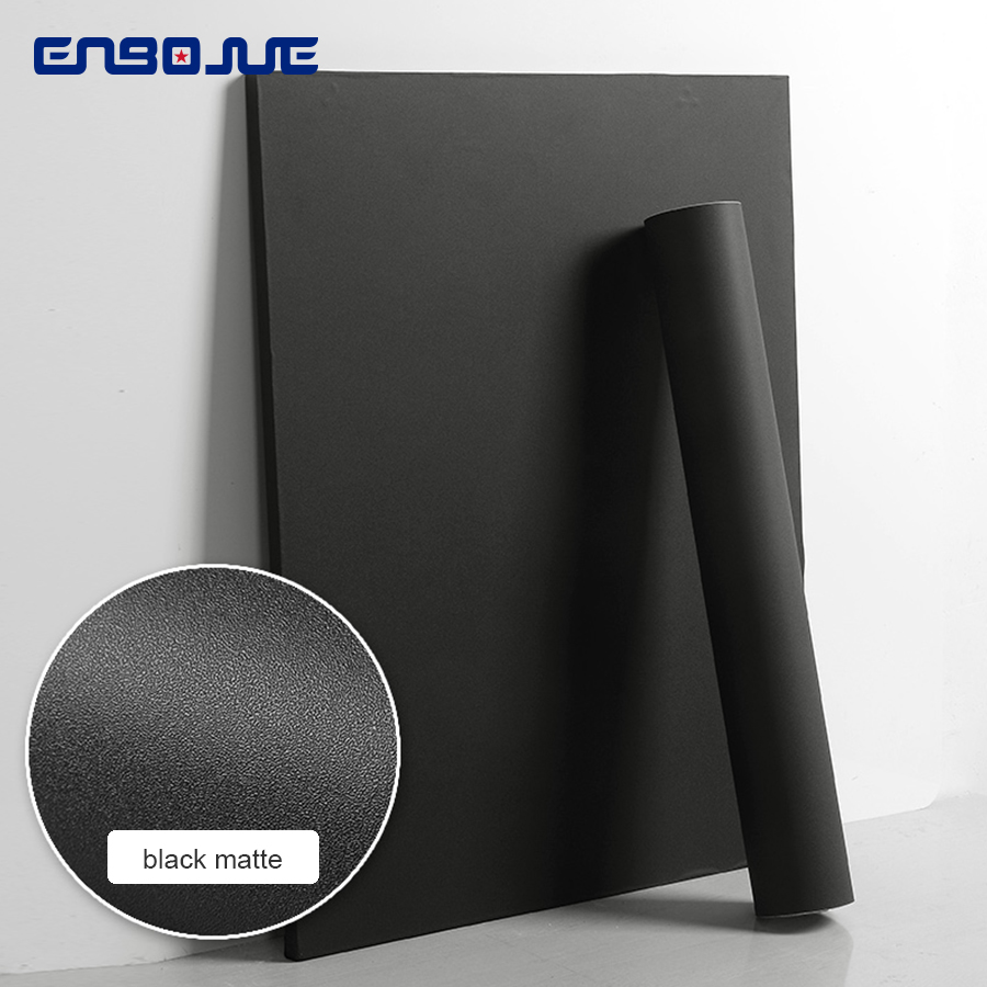 0 4x5M Black Furniture Renovation Stickers Solid Matte PVC Self Adhesive Wallpaper Wardrobe Cabinet Door Waterproof Wall Sticker in Wall Stickers from Home Garden