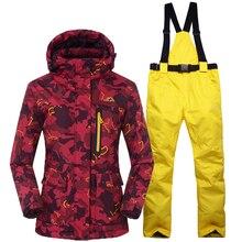 Комплекты для сноубординга женские лыжные костюмы куртки брюки Женская зимняя спортивная одежда лыжная куртка дышащая водонепроницаемая теплая