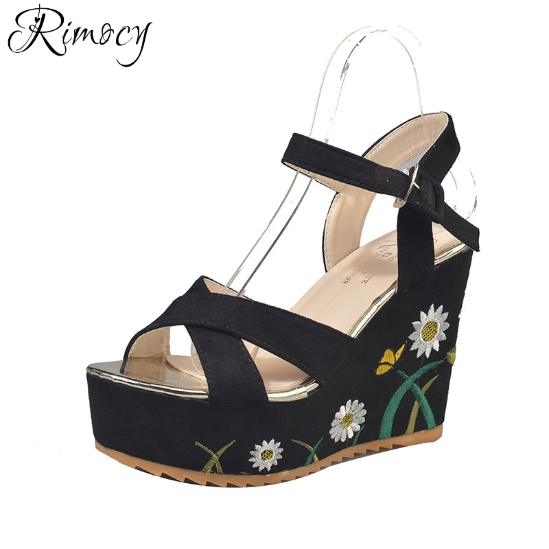 Rimocy embroidery floral women platform wedges sandals super high heel ankle strap woman flock summer shoes elegant ladies pumps xiaying smile summer new woman sandals platform women pumps buckle strap high square heel fashion casual flock lady women shoes
