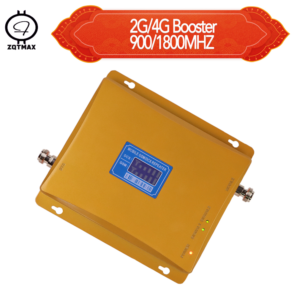 ZQTMAX GSM 900 DCS 1800 Signal Repeater 2g 4g Lte Repeater 65dbi GSM Cellphone Signal Amplifier Network Booster