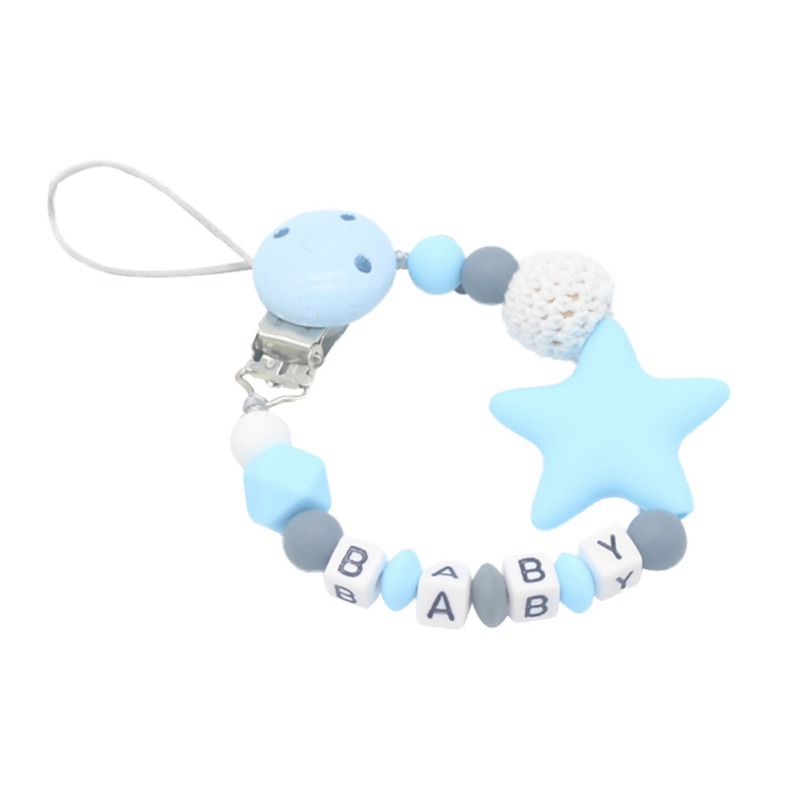Blue Wooden Baby pacifier Clip Cases Silicone beads Crochet beads pacifier chain