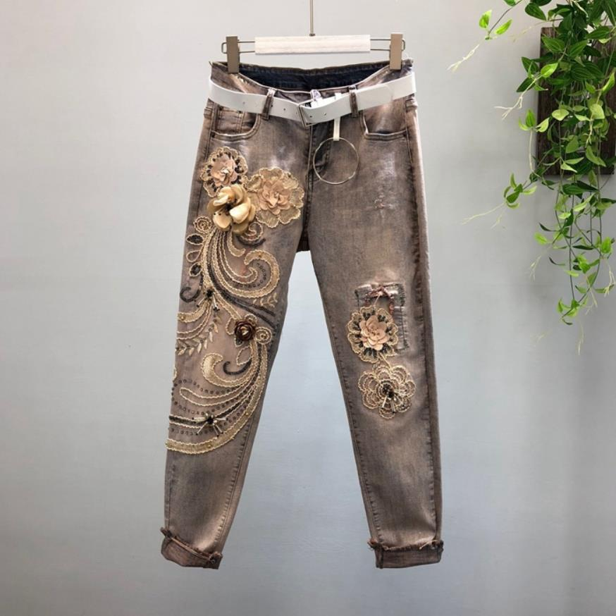 Fashion Womens appliques Embroidery Ripped denim Trousers  Women's fashion zipper stretch Hole Cowboy pencil jeans Pants wq1755