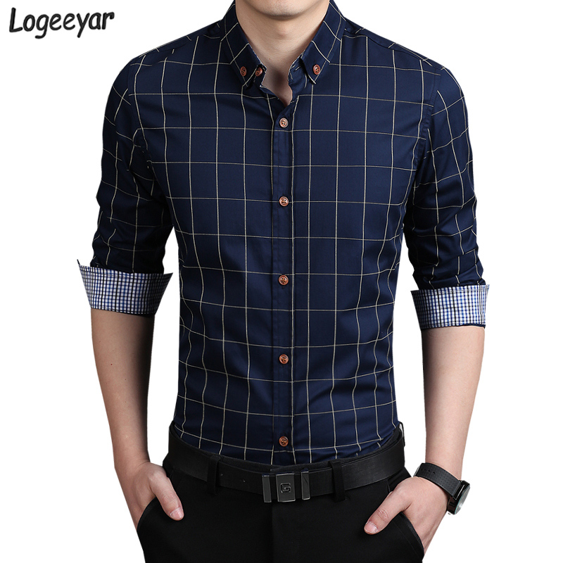 2017 new fashion mens plaid shirt cotton high quality for Men slim fit shirts