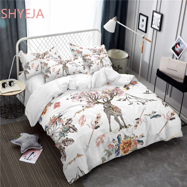 Shyeja Beautiful Pink Deer Pattern Bedding Set Bohemian Printed Feather Bed Linens Queen King Size Duvet Cover Sheets