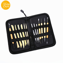 DIY Professional Fimo Tools Wood Soft Polymer Clay Art Carving Tools Playdough Gadget Charm Model Container Kit For Students