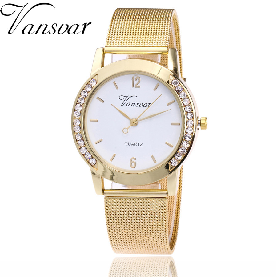 Vansvar Brand Fashion Gold Silver Mesh Band Watch Casual Women Metal Stainless Steel Quartz Watches Relogio Feminino Gift Clock цена