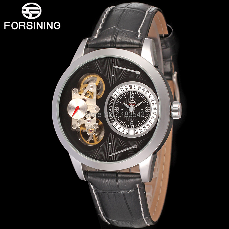 Famous brand FORSINING FSG8015Q3S1 new Quartz silver men wristwatch tourbillon black leather  strap shipping  free almost famous new black tough love sweater msrp $49 00