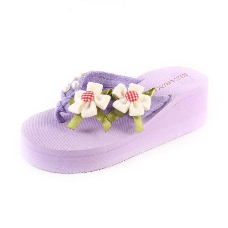 RizaBina Summer Beach Shoes Women Thick Paltform Wedges Slippers Women Flower Flip Flops Shoes Soft Footwear Size 36-39