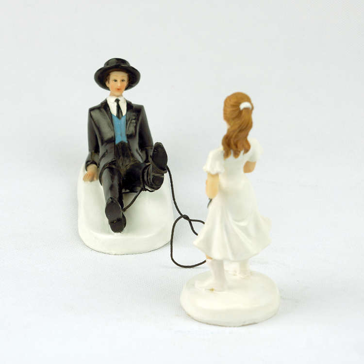 Wedding Engagement Decoration Kits Western Lasso Cowgirl Cowboy Bride And Roped Up Groom Funny Cake Topper In Decorating Supplies From