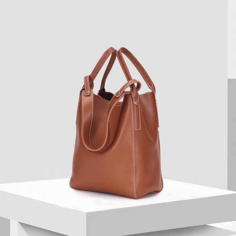 Saco de mulheres da moda de couro genuíno das mulheres bolsas simples saco de mão das senhoras sacos casual grande capacidade saco do mensageiro saco de ombro do sexo feminino