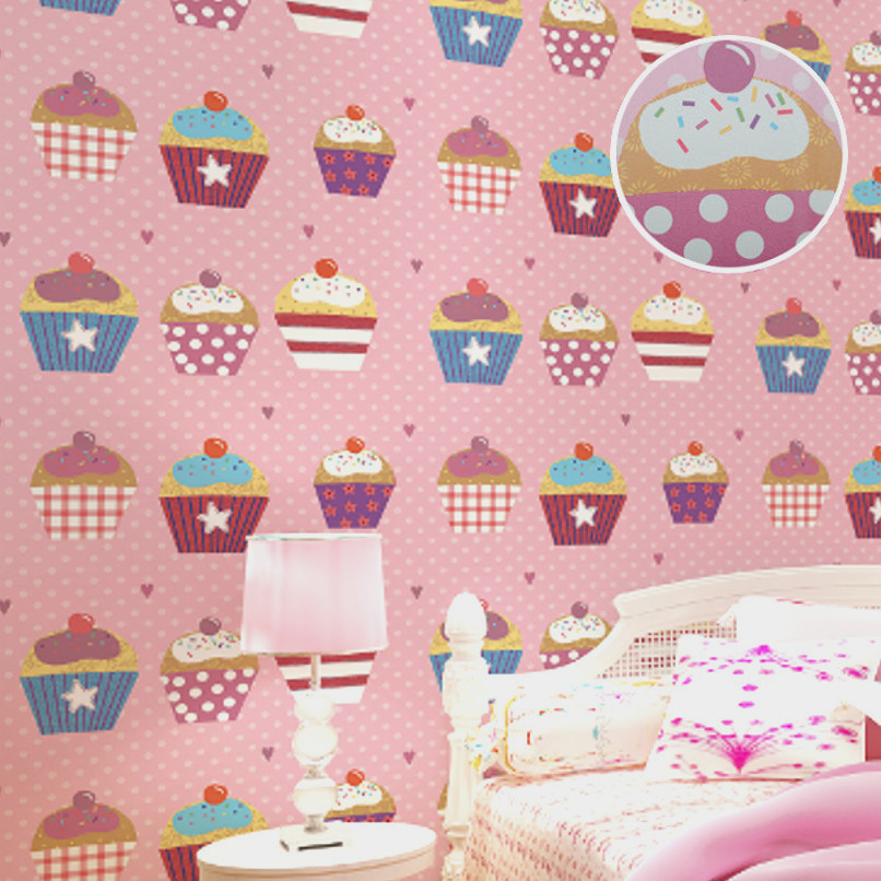 Top Quality Sweet Cupcake Lovely Colorful Modern Kids Wallpaper Roll for Room & Bedroom Pink Polka Dot Children Wall Paper 10M
