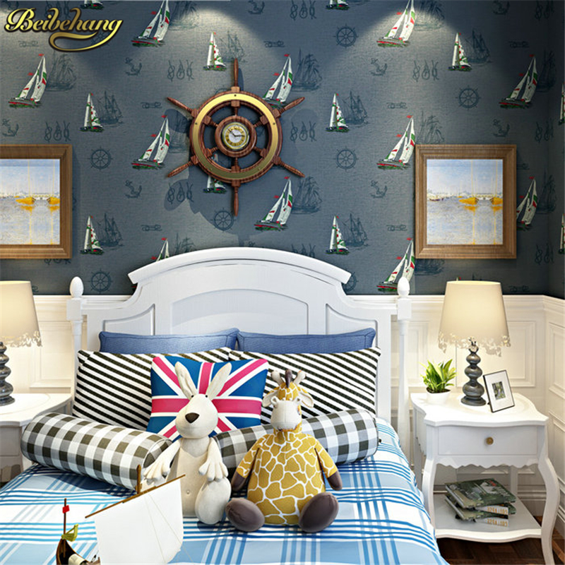 beibehang wall paper environmental non-woven wallpaper sailing yacht Mediterranean-style childrens room bedroom wallpaper beibehang wall paper environmental non-woven wallpaper sailing yacht Mediterranean-style childrens room bedroom wallpaper