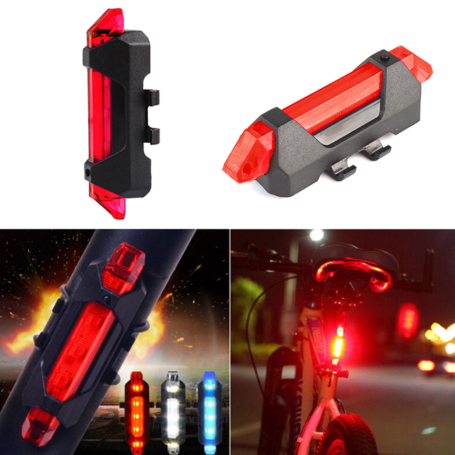 Hot Sale 5 LED  Night Mountain  Bicycle Cycling Tail Light  USB Rechargeable Red Warning Light Bike Rear Safety #88373