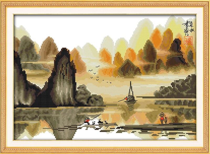 Поэтический li речной Счетный крест 11ct печатных 14ct комплект DIY Китайский Крестик Комплект Вышивка рукоделие
