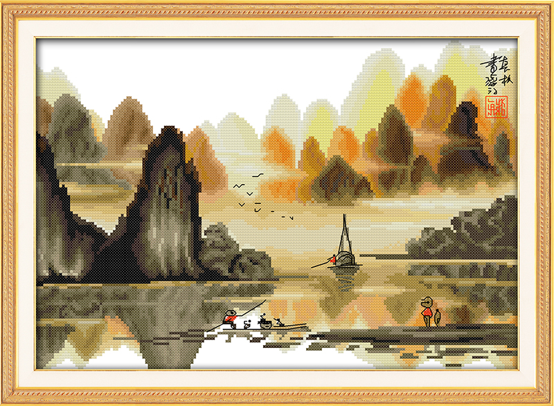 Poetic Li River Counted Cross Stitch 11CT Printed 14CT Set DIY Chinese Cross-stitch Kit  ...