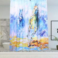 Waterproof Bathroom Drape Shower Curtain Polyester Zebra Printed Blinds For Hotels Campers Home Motels