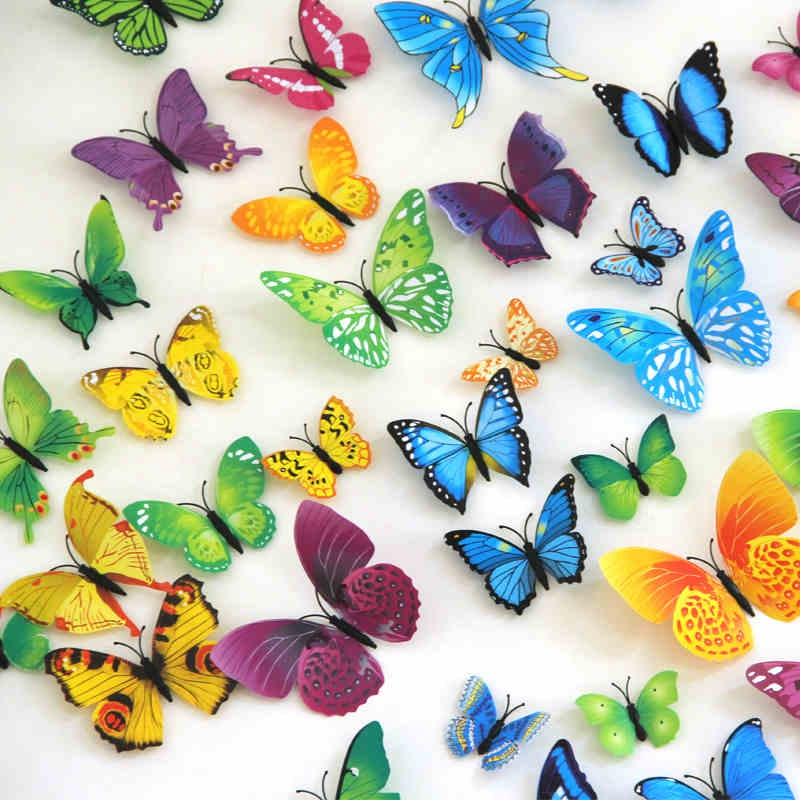 Butterfly Home Decor: Hot High Quality 12pcs/bag 3D Butterfly Home Decor Fridge