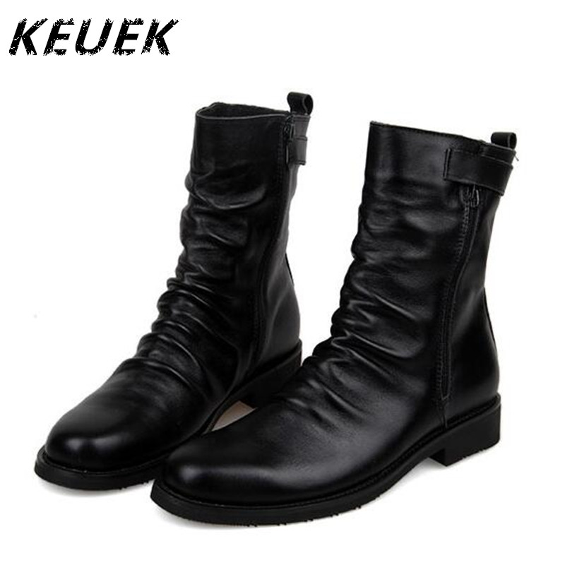 Autumn Winter Men Mid-Calf boots Genuine leather Short Plush Snow boots British style Male Motorcycle boots 022 nars легкое тональное средство с бархатистым эффектом velvet matte skin tint spf30 terre neuve