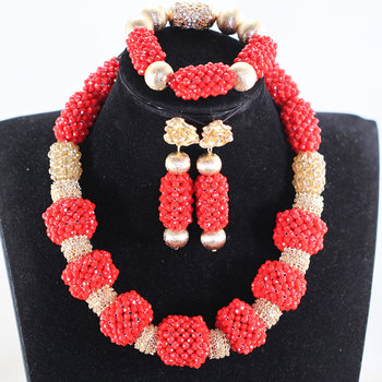 Handmade Crystal Beaded African Fashion Jewelry Set Red and Gold Nigerian Wedding Party Beads Jewelry Set WE243