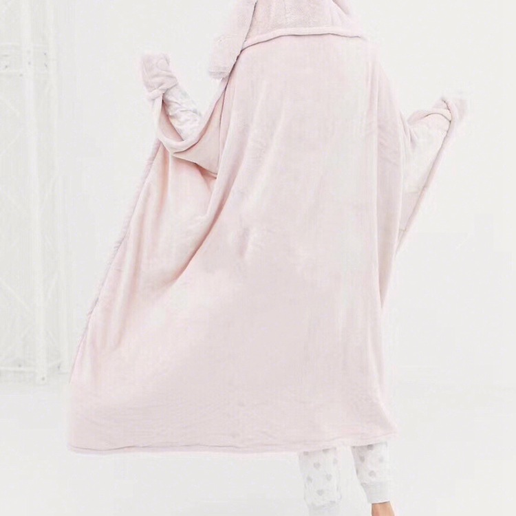 Cute Pink Comfy Blanket Sweatshirt Winter Warm Adults and Children Rabbit Ear Hooded Fleece Blanket Sleepwear Huge Bed Blankets 24