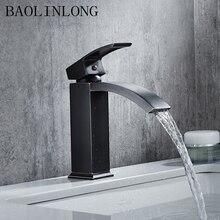 Drawing Black Brass Basin Bathroom Faucet Tap Deck Mount Vanity Vessel Sinks Mixer Waterfall Faucets стоимость