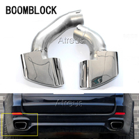 BOOMBLOCK 2PCS Car Styling For BMW X5 E70 V8 3.0d 3.0sd 3.0si Car Exhaust Muffler Tips Cover Accessories