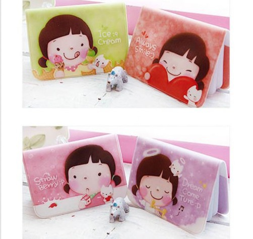 New Arrive Cute Kawaii Cartoon Girls Purse Credit ID Business Cards Holder Case Bag Protector 12 Slots