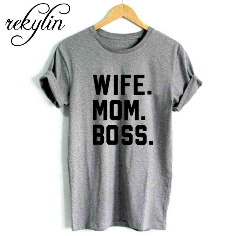 <font><b>WIFE</b></font> <font><b>MOM</b></font> <font><b>BOSS</b></font> Letters Print 5 Colors Women tshirt Cotton Casual Funny t shirt For Lady Girl Top Tee Hipster Drop Ship image