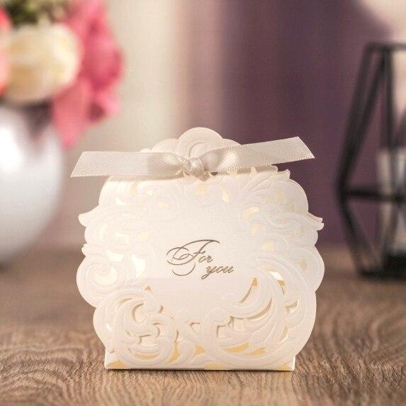 Gift Box Wedding Invitations: WISHMADE Laser Cut White Wedding Invitation Candy Paper