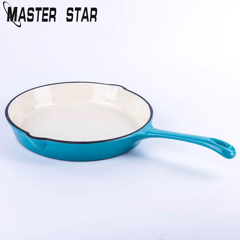 Master Star 26cm Blue Enamel Skillets Non stick Frying Pans Fine Fried Steak Fish Pans For Kitchen Cookware