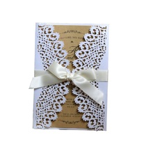 50pcs Laser Cut Wedding Engagement Business Invitations Card Lace Hollow Thanksgiving Wish Greeting Cards Party Favors