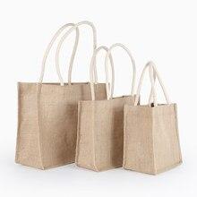 b728e1cf1c1c5 3 boyutları El Yapımı Keten Jüt Çanta Kadınlar Için Kadınsı Üst Kolu Büyük Tote  Çanta alışveriş çantası