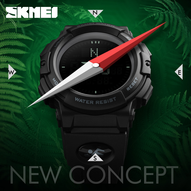 SKMEI Brand Mens Sports Watches 5ATM Digital Outdoor Men Military Watch EL Backlight Compass Wristwatches reloj hombre 2017 mens sports watches pedometer calorie digital watch compass thermometer chrono men wrist watch skmei brand outdoor reloj hombre