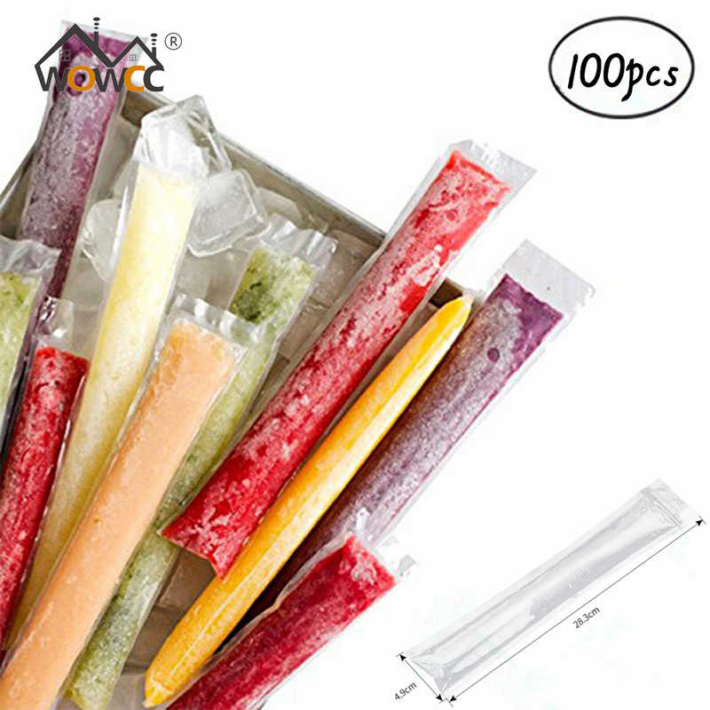 100pcs/Pack Plastic FDA Popsicles Molds Freezer Bags Ice Cream Pop Making Mould DIY Yogurt Summer Drinks Kids Hand Crafts