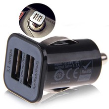 Universal Black Dual Double USB Port Car Charger with Logo For iPhone Samsung Cell Mobile Phone Charger high quality black dual double usb port car charger cigarette lighter for iphone ipad samsung cell phone charger for travel use