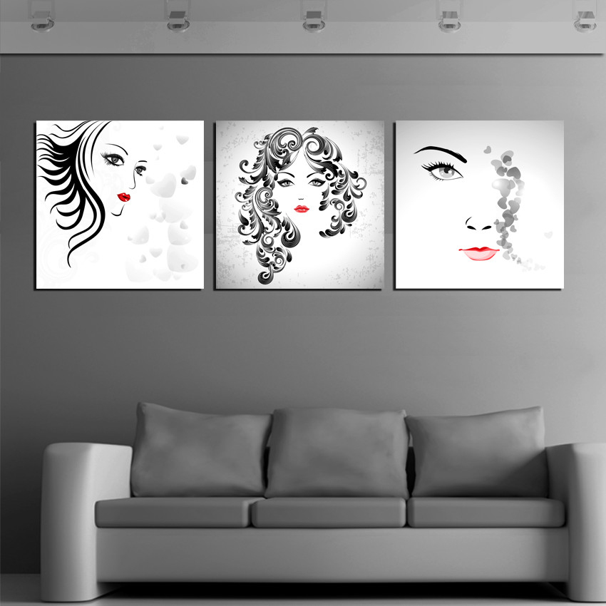 Beautiful Paintings Women Portrait Art Canvas Picture Modern Home Decor 3 Panel Wall S Bedroom Decoration 2017 New In Painting Calligraphy From