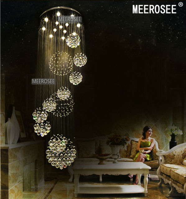 Modern Large Crystal Chandelier Light Fixture For Lobby
