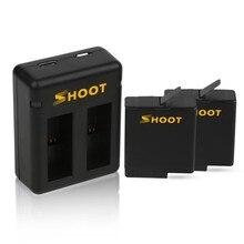 Зарядное устройство 2 шт. 1220 мАч батарея + Двойная подставка с зарядкой двойной зарядки для gopro hero 5 hero 6 7 Черные Аксессуары для камеры gopro