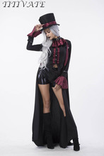 TITIVATE Women Halloween Carnival Costume Vampire Evil Gothic Steampunk Cosplay Masquerade Fancy Dress M L XL For Adult Women