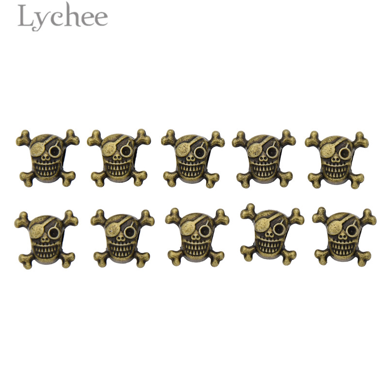 Lychee 10pcs Vintage Alloy Copper Color Hair Braid Dread Dreadlock Beads Angle Skull Sha ...