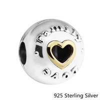 925 Sterling Silver Family Love Clip With Heart Fit Fashion Style Bracelet DIY Jewelry Charm For