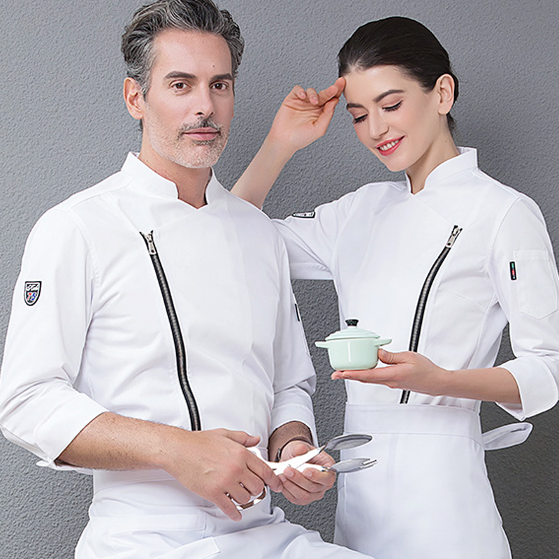1 Zipper Stand Up Collar Chef Uniforms Men Women Food Services Cooking Clothes White Black