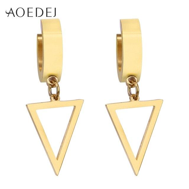 Aoedej Triangle Small Hoop Earrings Gold Color Stainless Steel Round Women Earring Huggies Men